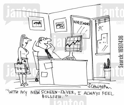 screen saver cartoon humor: 'With my new screen-saver, I always feel bullish.'