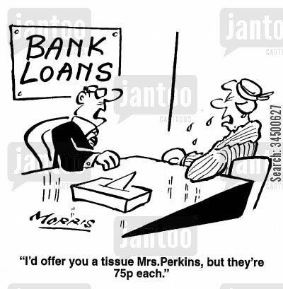 self assessment cartoon humor: I'd offer you a tissue Mrs Perkins, but they're 75p each