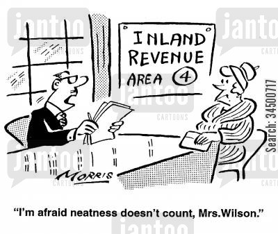 neat and tide cartoon humor: I'm afraid neatness doesn't count, Mrs Wilson