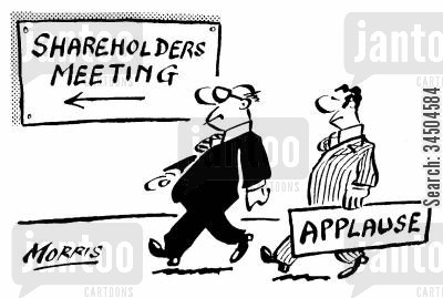 applause cartoon humor: Carrying an applause sign to the Shareholder's Meeting