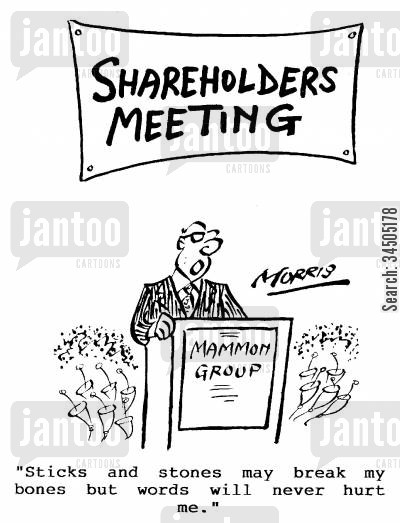 shareholding cartoon humor: Sticks and stones will break my bones, but words will never hurt me.