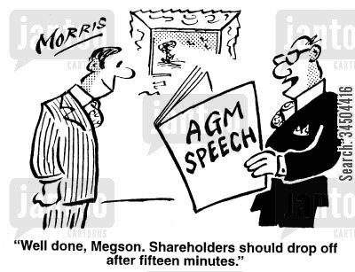 tedium cartoon humor: Well done, Megson. Shareholders should drop off after fifteen minutes.