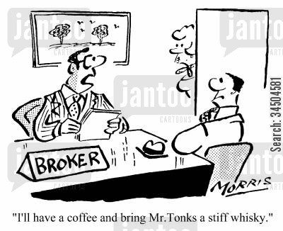 stiff drinks cartoon humor: I'll have a coffee and bring Mr. Tonks a stiff whisky.