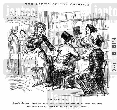role reversing cartoon humor: A Man Who Loves Shopping is Dragged Away By An Irrate Wife.