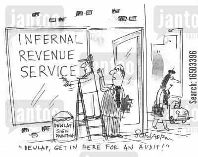 sign painting cartoon humor: 'Dewlap, get in here for an audit!'