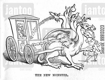 economy cartoon humor: The 'New Monster' excise duties draws Sir Robert Walpole's carriage and pours money into his lap