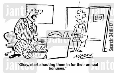 substitutes cartoon humor: Okay, start shouting them in for their annual bonuses.