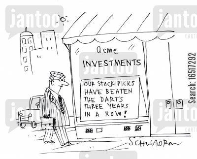 beats cartoon humor: Our stock picks have beaten the darts three years in a row!