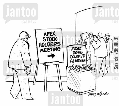 stock broker cartoon humor: Apex stock holders meeting.