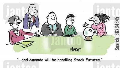 stock futures cartoon humor: And Amanda will be handling stock futures.