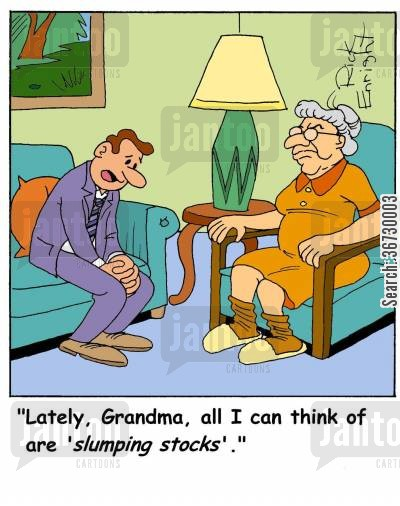 distraction cartoon humor: Lately, Grandma, all I can think of are 'slumping stocks'.