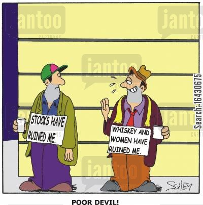 accounting scandal cartoon humor: Stocks have ruined me....'Poor devil!'