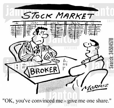 incomprehension cartoon humor: Stock Market - Ok, you've convinced me - give me one more share.