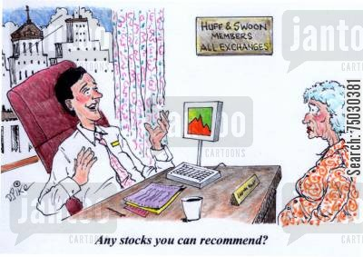 recommend cartoon humor: 'Any stocks you can recommend?'