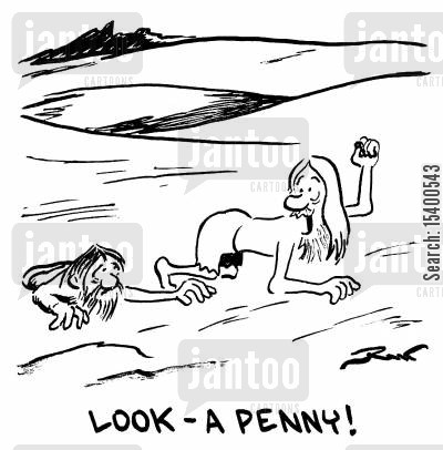 pennies cartoon humor: Look! A penny!