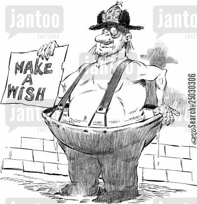 coin toss cartoon humor: 'Make-A-Wish' - beggar in water-filled pants.
