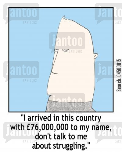 personal history cartoon humor: 'I arrived in this country with