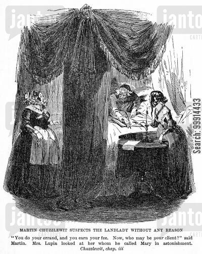 beds cartoon humor: Martin Chuzzlewit suspects the landlady without any reason