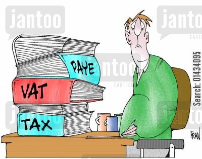 small businesses cartoon humor: Paye...vat...tax.