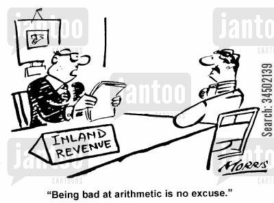 justifications cartoon humor: Being bad at arithmetic is no excuse.