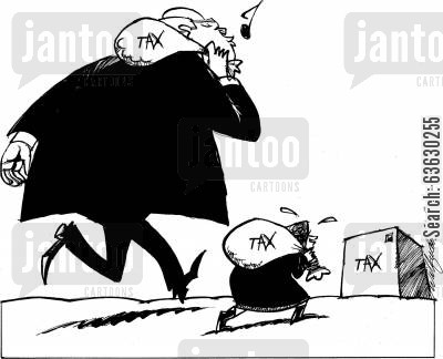 taxpayers cartoon humor: Flat tax - equal burden?