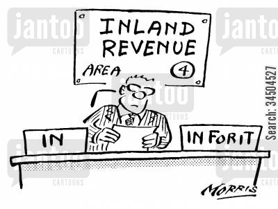 catching out cartoon humor: Inland Revenue In Tray and Out Tray