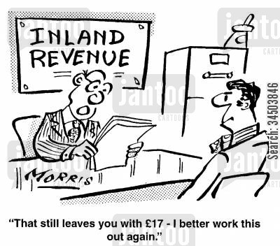 miserly cartoon humor: That still leaves you with �17 - I better work this out again.