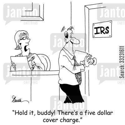 cover charges cartoon humor: 'Hold it, buddy! There's a five dollar cover charge.'