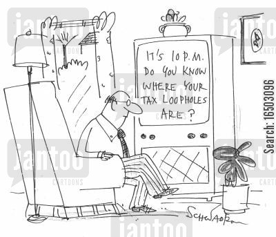 tax havens cartoon humor: 'It's 10pm, do you know where your tax loopholes are?'