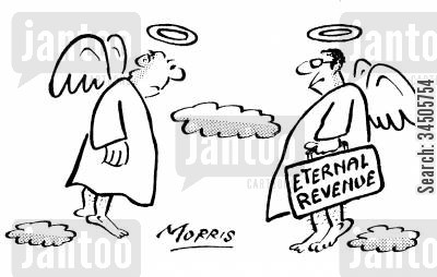 tax evader cartoon humor: Angel from the 'Eternal Revenue.'
