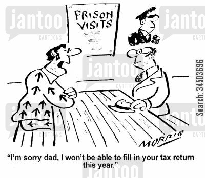 tax evaders cartoon humor: Prison Visits - I'm sorry dad, I won't be able to fill in your tax return this year.