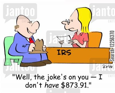 audited cartoon humor: 'Well, the joke's on you -- I don't HAVE $873.91.'