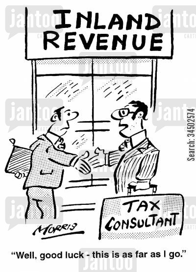 tax consultant cartoon humor: Inland Revenue - ....this is as far as I go.