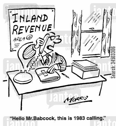 tax assessments cartoon humor: Hello, Mr Babcock, this is 1983 calling.