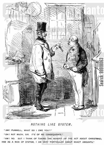 methodic cartoon humor: Gentleman wanting to know exactly how much he owes his butler