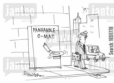 automatic machine cartoon humor: Panhandle O-Mat.