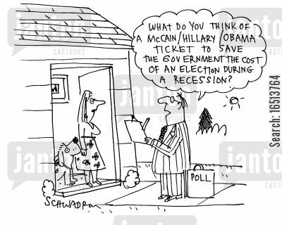 mccain cartoon humor: 'What do you think of a McCainHillaryObama ticket to save the government the cost of an election during a recession?'