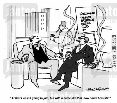 millionaire cartoon humor: 'At first I wasn't going to join, but with a name like that, how could I resist?'