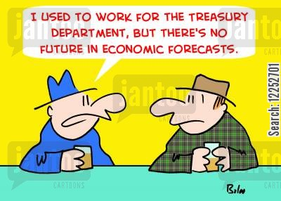 economic forecasts cartoon humor: 'I used to work for the Treasury Department, but there's no future in economic forecasts.'