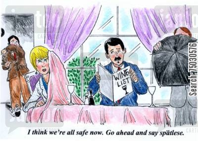 spit cartoon humor: 'I think we're all safe now. Go ahead and say spatlese.'
