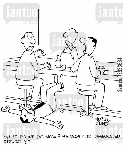 drink driving cartoon humor: 'What do we do now? He was our designated driver?'