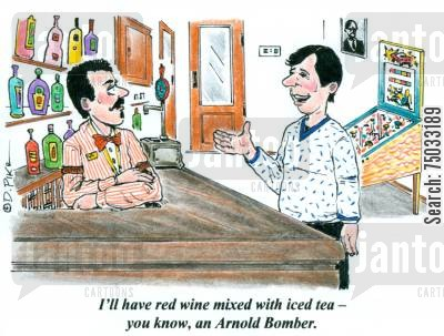 sports bar cartoon humor: 'I'll have red wine mixed with iced tea - you know, an Arnold Bomber.'