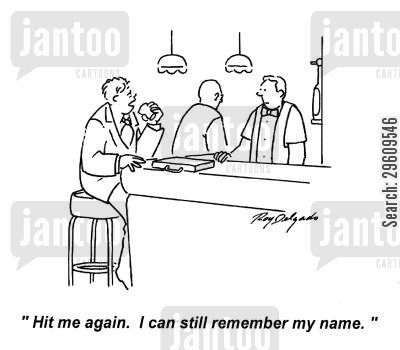 name cartoon humor: 'Hit me again. I can still remember my name.'