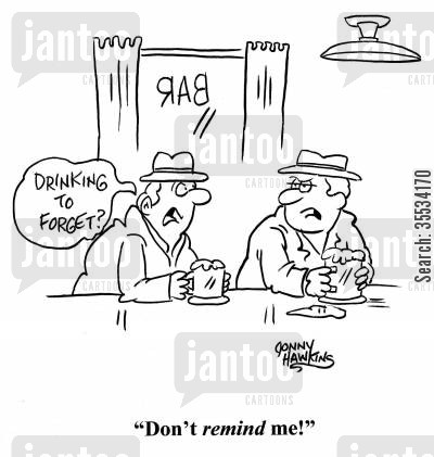 corner pub cartoon humor: Man at bar: 'Drinking to forget?' Other man: 'Don't remind me!'
