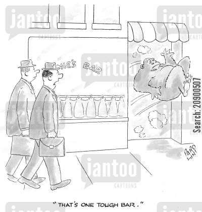 door policy cartoon humor: 'That's one tough bar.'