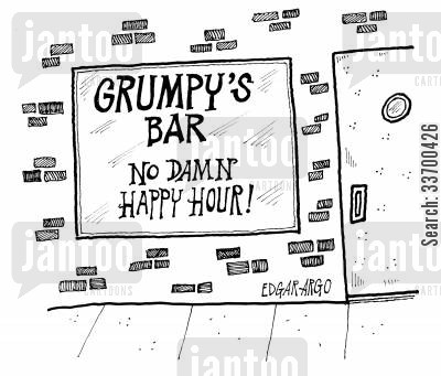 bad tempered cartoon humor: Grumpy's Bar - No Damn Happy Hour!