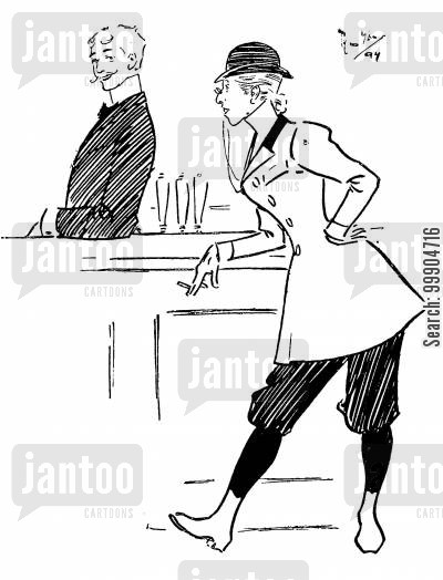 bar keeper cartoon humor: Victorian woman at a bar.