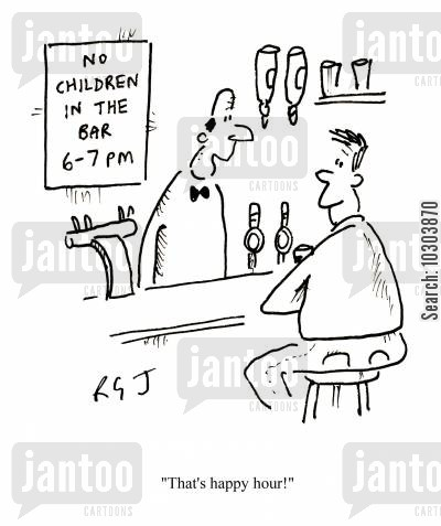 drinking culture cartoon humor: 'That's happy hour!'