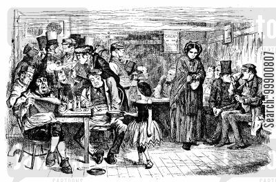 bars cartoon humor: Victorian Pub Scene