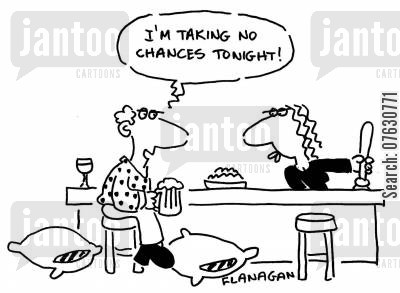 bar stool cartoon humor: I'm taking no chances tonight! (Floor lined with cushions ready for when he falls off his stool).